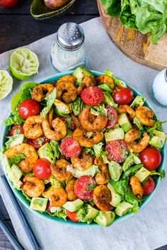HOW to Eat Clean in the BEST possible way!!!Makes 3 servings Ingredients: 1 lb. jumbo shrimp, peeled and deveined 16 oz. chopped romaine lettuce 3/3 cup cherry tomatoes, halved 1 avocado, diced Dressing: 1/4 cup packed cilantro leaves, roughly chopped 1/4 cup fresh lime juice 1/4 cup extra...
