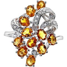Sterling Silver Citrine & Diamond Accent Ring, Adult Unisex, Size: 5,... (570 VEF) ❤ liked on Polyvore featuring jewelry, rings, orange, sterling silver jewelry, oval citrine ring, citrine ring, round ring and diamond accent rings