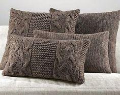 Set of pillows. Pillows with patterns. Knitted Cushion Covers, Knitted Cushions, Diy Cushion, Knitted Blankets, Sweater Pillow, Knit Pillow, Burlap Pillows, Decorative Pillows, Futons