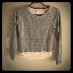 Gray sweater Gray sweater with lace at bottom Xhilaration Sweaters