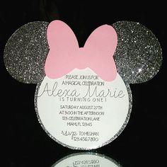 Black Minnie Mouse Head White Circle Pink Bows Die Cut pieces