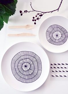 Are you tired of the same ol' white dishes in your kitchen, but don't want to spring for a new set? Jazz them up for only a few bucks and a few hours of your time!