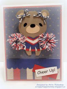 Teddy Bear Parade cheerleader cheer up cricut card