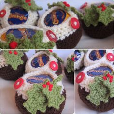 Crochet Xmas pudding covers for chocolate oranges