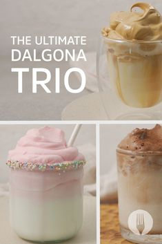 The GREATEST Dalgona TRIO of all-time is served 🍫🍓☕👇😱😍 Milkshakes, Sorbet, Cravings, Smoothies, Foodies, Sweet Tooth, Dinners, Cooking Recipes, Lovers