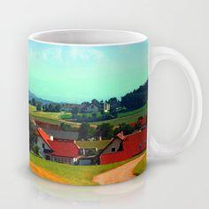 Peaceful farmland on a sunny afternoon Coffee Mug by patrickjobst Sunny Afternoon, Ceramic Mugs, Coffee Mugs, Custom Design, Peace, Ceramics, Tableware, Ceramica, Pottery Mugs