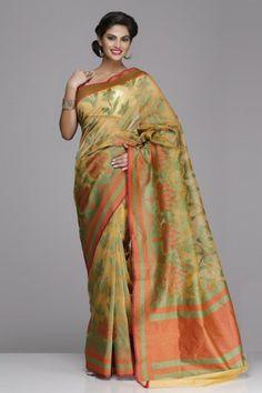 #Mustard #Banarasi Pure #Kora #Net #Saree With A Floral Pattern on www.indiainmybag.com/trousseau-treasure-banarasi-sarees.html