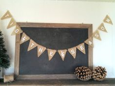 Tis The Season Christmas Triangle Burlap Flag Bunting Banner by SweetThymes, $29.99