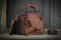 Bolso de cuero con sistema de embrague bolso hecho a mano ladybuq