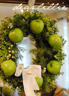 Spring Apple Wreath    What a lovely idea! Give your Christmas wreath a fresh spring makeover with apples.