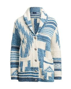 A Southwestern-inspired pattern in the season's blue-and-white hues enhances the rustic vibe of this soft cotton cardigan. Sweater Fashion, Sweater Outfits, Sweater Hoodie, Casual Outfits, Ralph Lauren Shop, Ralph Lauren Style, Shawl Cardigan, Cotton Cardigan, Cool Sweaters