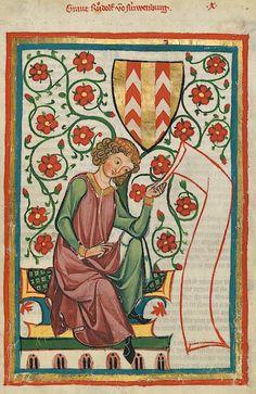 Manesse Codex - (1300 - 1340) Graf Rudolf von Neuenburg