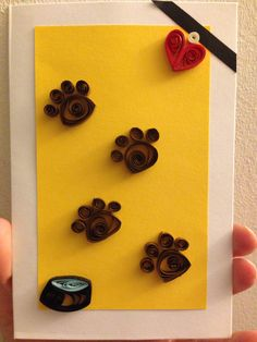 Quilled dog footprint card!