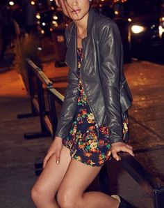 Obsessed with this look for a night out | Faux leather jacket + tunic.