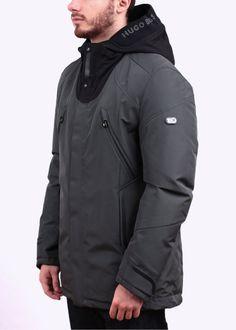 Hugo Boss Jenato Jacket - Dark Grey Hugo By Hugo Boss, Sailing Jacket, Men's Wardrobe, Apparel Design, Parka, Winter Fashion, Sportswear, Dark Grey, Menswear