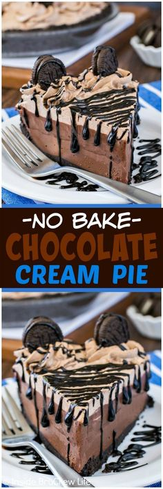 No Bake Chocolate Cream Pie - layers of chocolate whipped cream, pudding, and cheesecake make this the perfect pie for chocolate lovers! Easy no bake recipe for summer picnics!