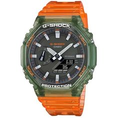 Casio G Shock Watches, Graphic Design Lessons, Countdown Timer, Clear Resin, Watch Case, Green And Orange, Cool Watches, Ebay, Semi Transparent