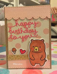 "Mini Birthday card using Lawn Fawn ""Party Animal"" stamp set and dies. :)"
