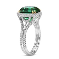 "TAMIR Exceptional ""Mint"" Green Tourmaline and Diamond Ring. 
