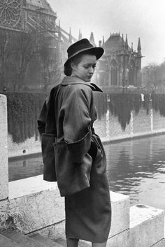 In Photos: Dior in the 1940's  - HarpersBAZAAR.com vintage fashion designer couture late 40s style coat jacket swing clutch open dress skirt hat model photo print ad