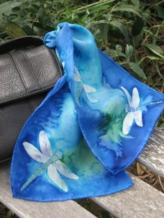 Dragonfly Silk Purse Scarf,  Handpainted Silk Purse Scarf.