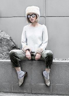 Eea Ikeda - G.U. Hat, Zara Velvet Pants - FUR & VELVET