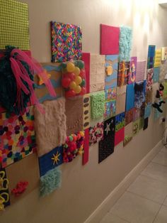 Sensory Wall 25 Unknown Facts About Dementia Sensory wall can put on cardboard and hang anywhere Sensory Art, Sensory Rooms, Sensory Boards, Sensory Table, Baby Sensory, Sensory Bins, Diy Sensory Toys, Dementia Activities, Infant Activities