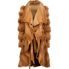 Liska By Thomas Kirchgrabner panelled swing coat (406.025 RUB) ❤ liked on Polyvore featuring outerwear, coats, jackets, fur, brown, beige coat, waterfall coat, trapeze coat, brown coat and swing coat