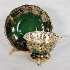 Porcelain Cup and Saucer ~ Green and Gold