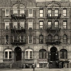 """The actual physical """"Physical Graffiti"""" brownstone located in the East Village in NYC."""