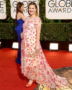 Drew Barrymore in a floral Monique Lhuillier gown at the 2014 Golden Globes