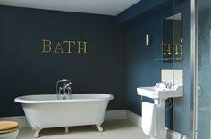 Farrow & Ball Hague Blue 30 - this makes a dramatic backdrop for white porcelain in a bathroom Hague Blue Bathroom, Dark Blue Bathrooms, Blue Bathrooms Designs, Small Bathrooms, Farrow Ball, Bathroom Wall Decor, Bathroom Colors, Bathroom Ideas, Master Bathroom