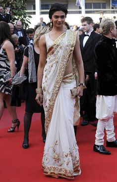 White & Gold Saree for formal events  (And it's Deepika Padukone, my favorite actress!)