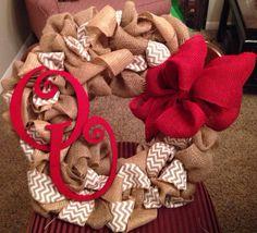 OU Burlap Wreath-  Chevron burlap ribbon, burlap, red burlap bow, and wooden OU letters. University of Oklahoma on Etsy, $55.00