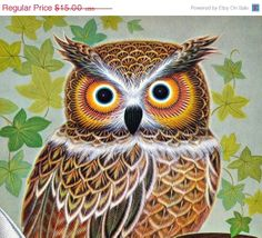Owl Poster Wise Owl  with Book Inkpot and Feather Pen Art Print Poster 1973 Lithograph K Chin Donald Art Co