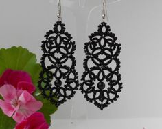 Black lace earrings with black agat tatted by TattingLaceJewellery