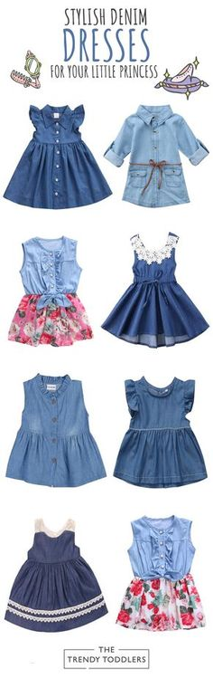 Denim Dresses, Girls Casual Dresses, Toddler Girl Dresses, Little Girl Dresses, Baby Girl Dress Design, Baby Girl Dress Patterns, Baby Girl Fashion, Toddler Fashion, Kids Fashion