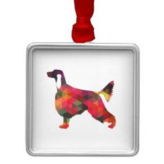 Irish Setter Geometric Pattern Black Silhouette Square Metal Christmas Ornament