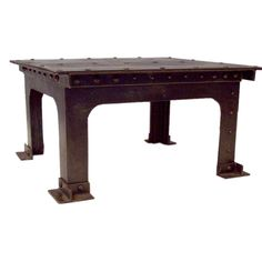 Riveted French Steel Coffee Table | From a unique collection of antique and modern coffee and cocktail tables at http://www.1stdibs.com/furniture/tables/coffee-tables-cocktail-tables/