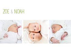 Geburtskarte Zwillinge 3 Fotos by Marianne Fournigault für Rosemood.de #Modern #Geburt #Fotos