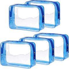 Pangda 5 Pack Clear PVC Zippered Toiletry Carry Pouch Portable Cosmetic Makeup Bag for Vacation, Bathroom and Organizing Measurement: the clear travel bag size about 17 x 12 x 6 cm/ 6.69 x 4.72 x 2.36 inch (L x H x W), it has enough space to storage your items Good quality: made from durable and clear PVC material, along with large opening on top make it easy to pack Transparent travel bag: transparent design allows you to see what is stored and where it is, easily find what you are looking for Travel Toiletries, Travel Cosmetic Bags, Travel Bag, Best Amazon Products, Transparent Design, Clear Bags, Toiletry Bag, Zipper Bags, Makeup Cosmetics