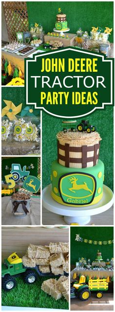 This green and yellow tractor party featuring the birthday boy's very own tractor! See more party ideas at CatchMyParty.com!