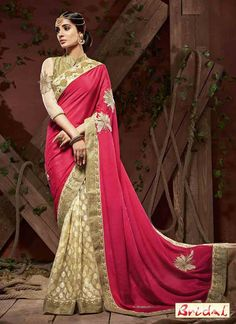 Pink Cream Jacquard Chiffon Half And Half Saree With Embroidered,Lace Works. Order Half And Half Saree Online Indian Bridal Sarees, Indian Designer Sarees, Designer Sarees Online, Lehenga Choli, Anarkali, Net Saree, Half And Half, Online Shopping Sarees, Ethnic Sarees
