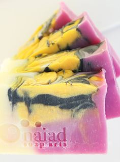 Log swirl with layers - Wild Orchid and Lemon soap by Naiad Soap Arts