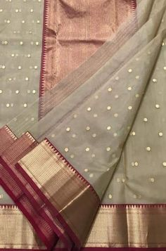 Wardrobe wants Indian put on Pastel Handloom Chanderi Pure Katan Silk Ghani Booti Saree A Patriotic