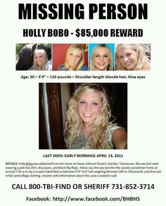 HOLLY BOBO is MISSING from DARDEN,TENNESSEE   REWARD $85,000