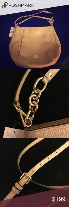 Michael Kors Leather Convertible Bag Brand new with tags.  Genuine tan leather with gold accents.  Chain and adjustable straps.  Can be detached to use as a cross body or shoulder bag.  2 front zipper pockets.  100% authentic I posted picture of inside MK