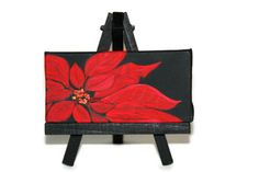 Painting - Poinsettia - Acrylic On Black Canvas - Miniature - Hand Painted - With Black Easel - Christmas Gift-Abstract-Modern Art