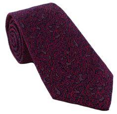 Haddon & Burley Magenta Organic Floral Silk Tie