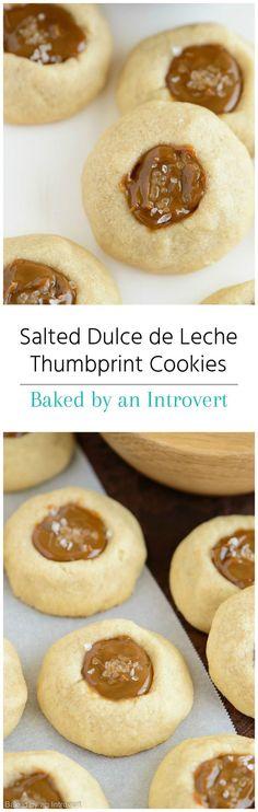 Salted Dulce de Leche Thumbprint Cookies Recipe from bakedbyanintrovert.com